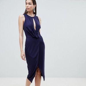 ASOS Lavish Alice Navy Blue Faux Wrap Dress